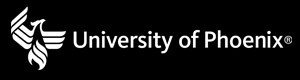 Horizontal University of Phoenix logo, white text on black background; Link to JPEG file